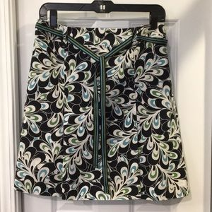 🌿 LOFT Skirt Navy, Green, White, Ribbon Belt